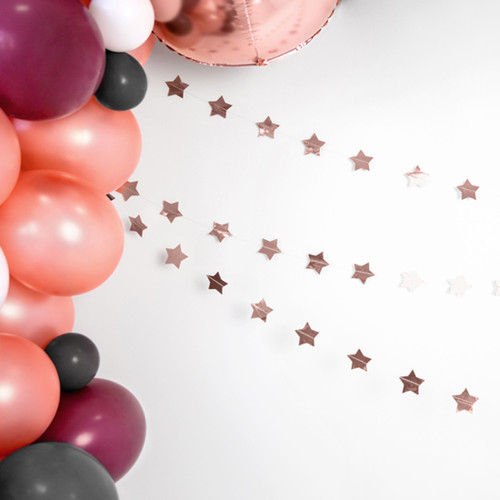 Rose Gold Star Garland Party Decoration for Birthdays, Hen Parties, Weddings and Baby Showers