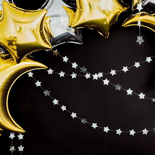 Silver Star Garland Party Decoration for Birthdays, Hen Parties, Weddings and Baby Showers