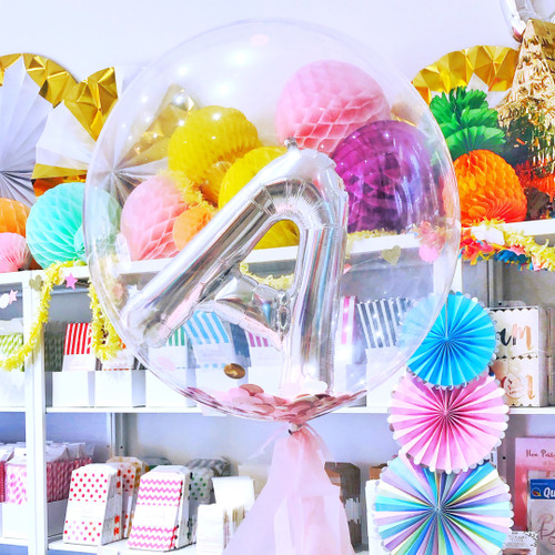 Bubble balloon filled with a letter balloon for birthday parties, gifts and surprises for loved ones