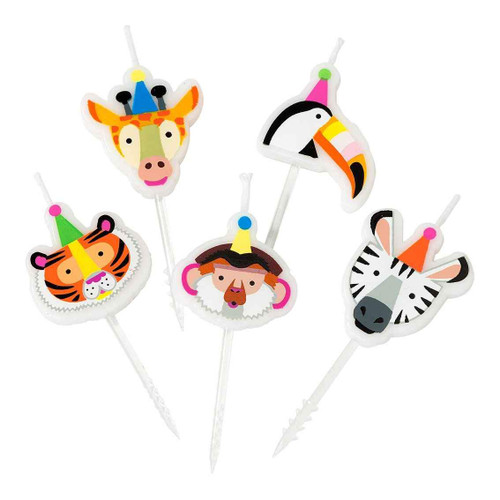 Jungle Animal Birthday Party Cake Candles