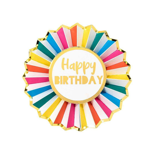 Rainbow Stripe Birthday Party badge for the guest of honour to wear!