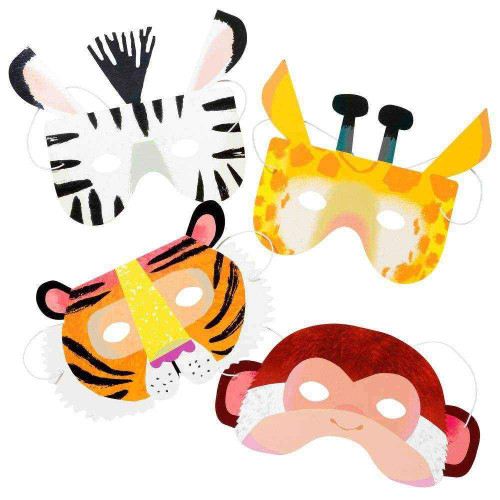 Animal party paper masks for jungle, zoo or safari themed birthday parties