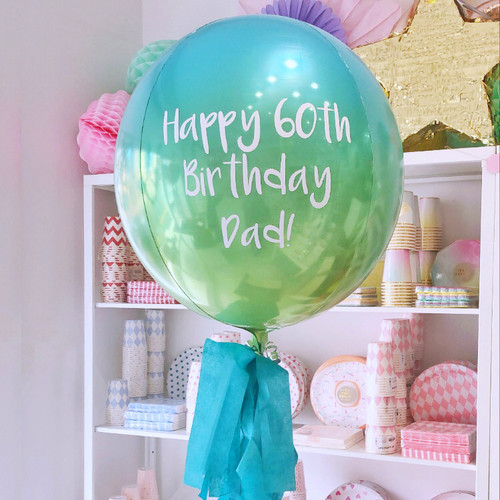 Personalised green and blue ombre orb balloon delivered in a box direct to the recipient