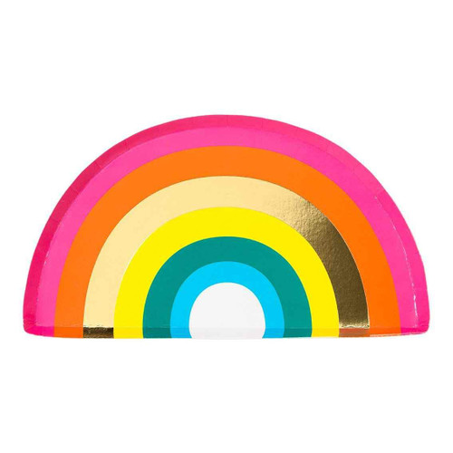Rainbow themed paper party plates for childrens birthday parties and pride celebrations