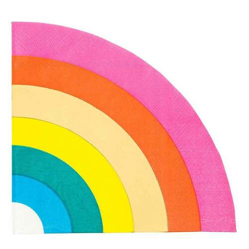 Rainbow themed paper party napkins for childrens birthday parties and pride celebrations