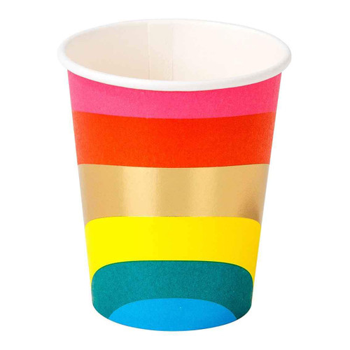 Rainbow themed paper party cups for childrens birthday parties and pride celebrations