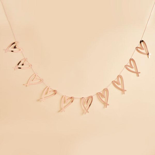 Rose gold heart party garland decoration for hen parties, baby showers, weddings and birthday celebrations