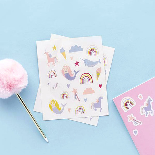 Enchanted mermaid unicorn rainbow party stickers and favours for goody bags. Perfect for a magical birthday party