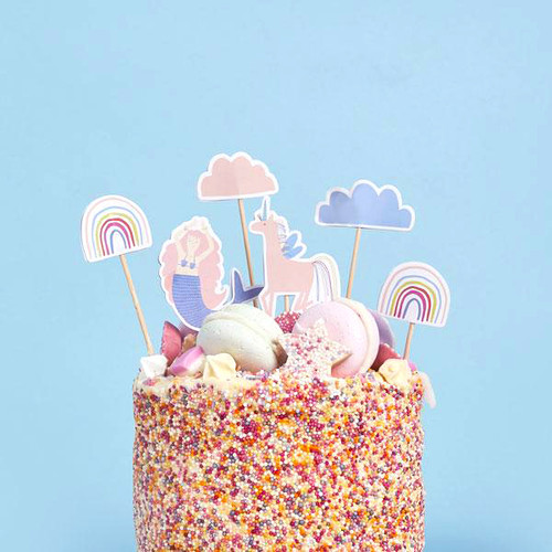 Enchanted mermaid unicorn rainbow cake toppers. Perfect for a magical birthday party cake!