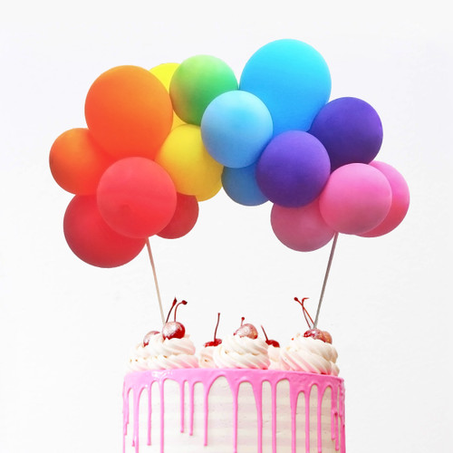 Rainbow balloon cake topper kit to decorate your birthday party cake