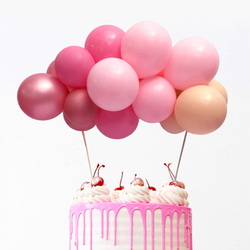 Pink and rose gold balloon cake topper kit to decorate your birthday party cake