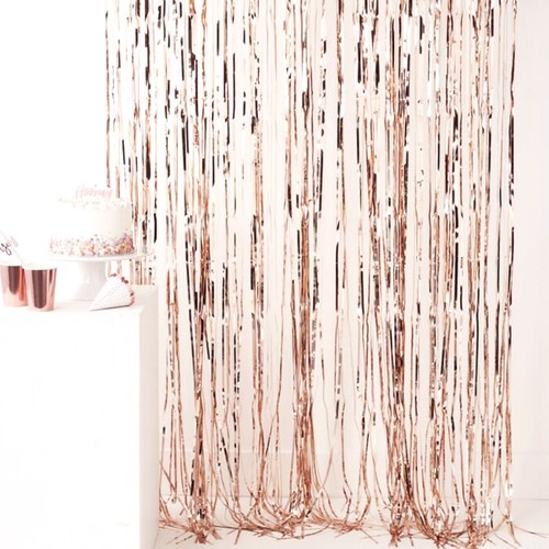 Rose Gold Fringe Curtain Party Decoration for Birthdays, Hen Parties and Photo Booth Backdrops