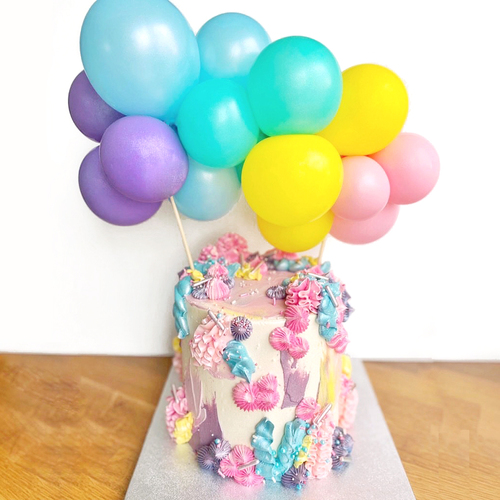 Pastel balloon cake topper kit to decorate your birthday party cake