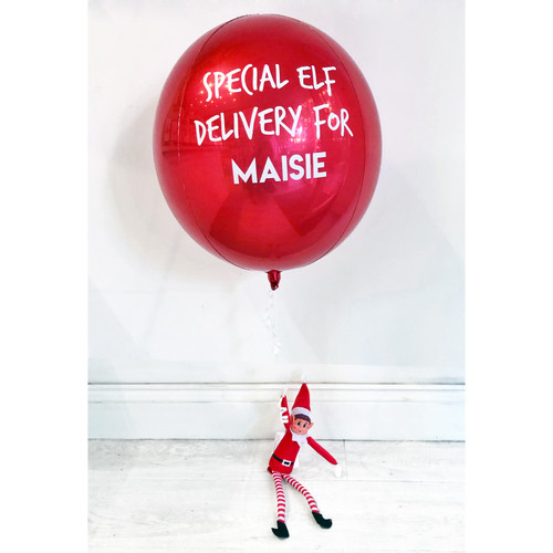 Personalised Christmas elf balloon delivered inflated in a box in the post to surprise your children this December