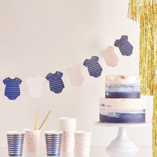 Pink and Navy Baby Grow Bunting Party Decoration for Baby Showers and Gender Reveal Parties