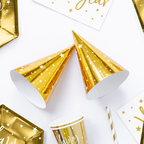 Gold Star Print Party Hats