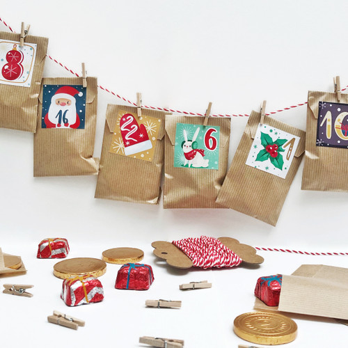 Christmas paper bag advent calendar kit