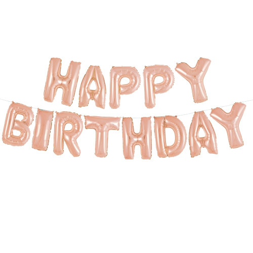 Rose gold happy birthday letter balloons