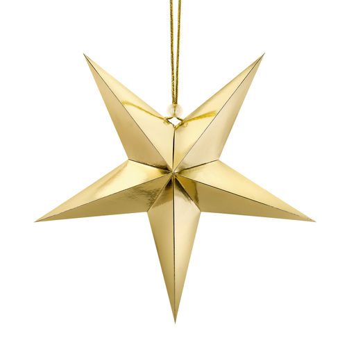 Metallic Gold Paper Star Party Decoration for Christmas Home Decor