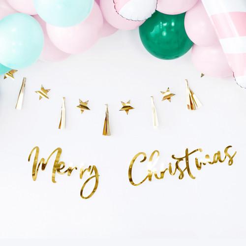 Gold Merry Christmas Banner for Christmas Home Decor