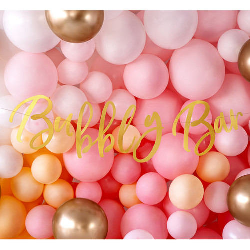 Gold Bubbly Bar Banner Party Decoration for Birthday, Hen Party and Wedding Cocktail Bar Decor