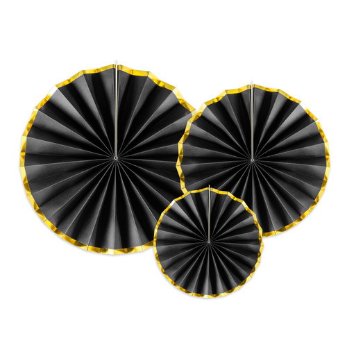 Black and Gold Paper Fan Set Party Decoration for Glam Birthdays and New Years Eve Home Decor