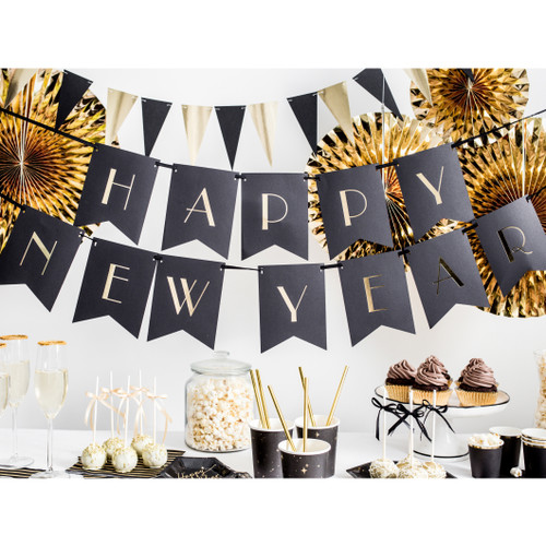 Black Happy New Year Bunting Party Decoration for Glam New Year's Eve Venue Decor