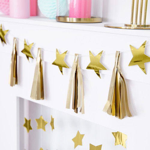 Gold Tassels and Stars Garland Party Decoration for Birthdays, Baby Showers and Home Decor