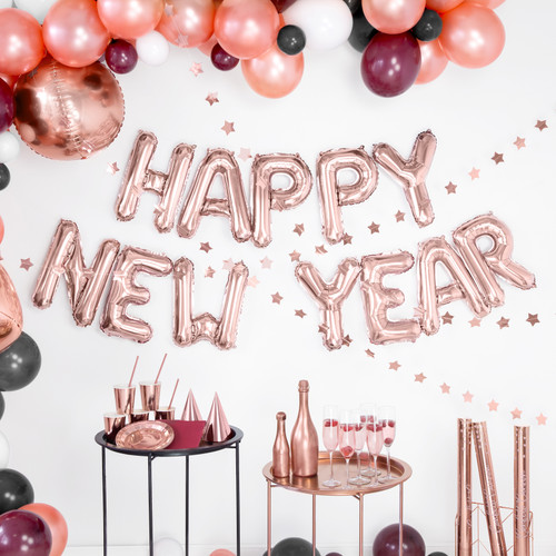Rose Gold Happy New Year letter balloons