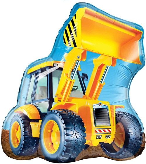 Construction digger truck tractor birthday party balloon for a builder theme