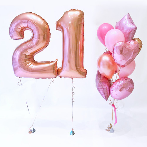 Rose gold number birthday balloons