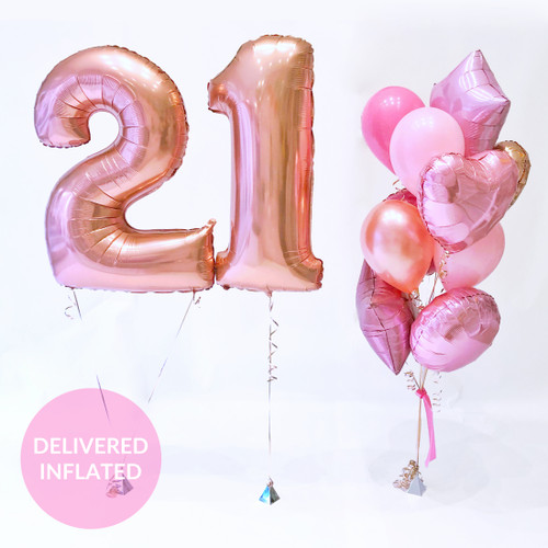 Rose gold number birthday balloons delivered inflated to your doorstep for a party or gift