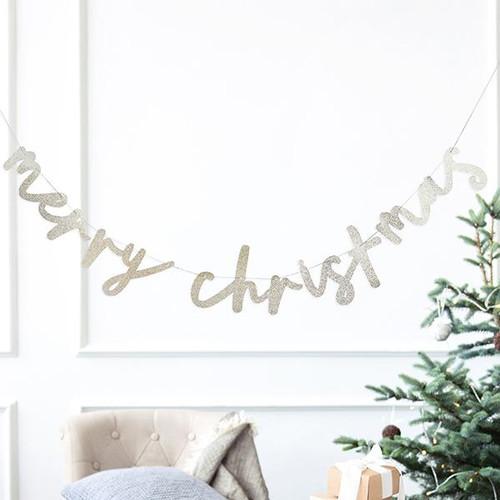 Gold Glitter Merry Christmas Banner