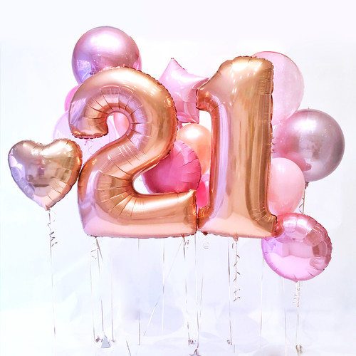 Rose Gold Birthday Number Deluxe Balloon Collection