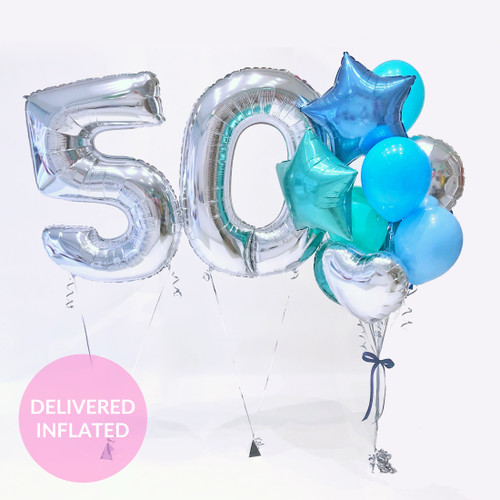 Silver Birthday Number Premium Balloon Collection delivered inflated