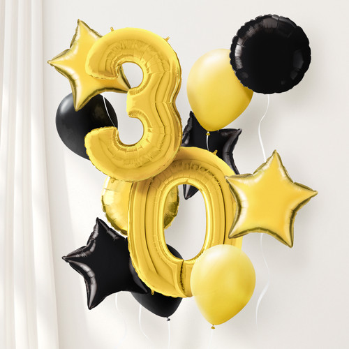 Gold and black helium party balloons delivered to you inflated