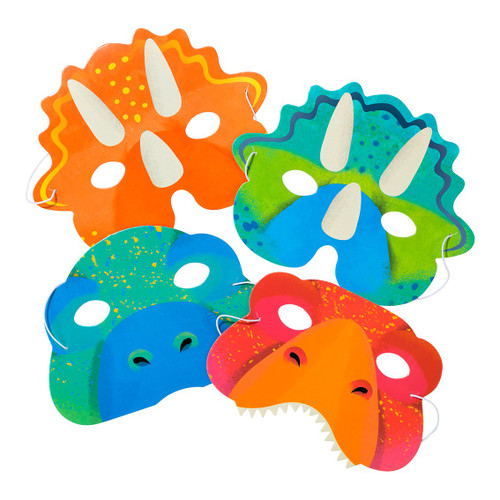 Dinosaur party paper masks for jurassic or prehistoric themed childrens birthday parties