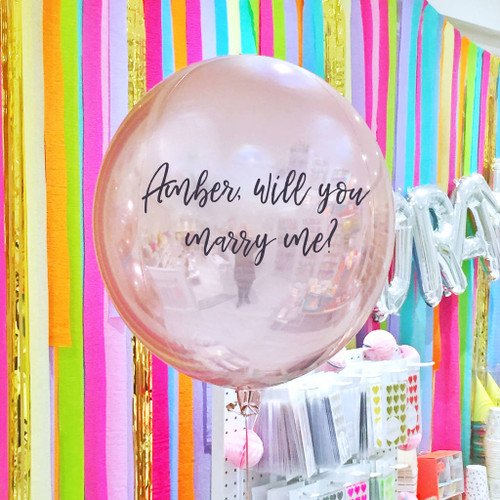 Personalised marriage proposal love balloon delivered inflated