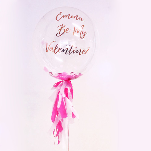 Personalised Bubble Confetti Balloon for Valentine's Day gift of love. Perfect for marriage proposals and romantic surprises sent in the post.