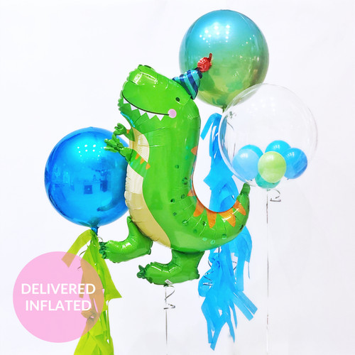 Dinosaur birthday balloons for jurassic fans and childrens birthday parties delivered inflated