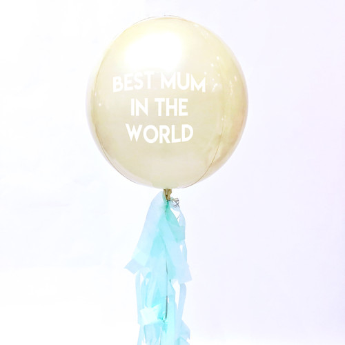 Personalised Mother's Day yellow orb balloon delivered in a box direct to the recipient