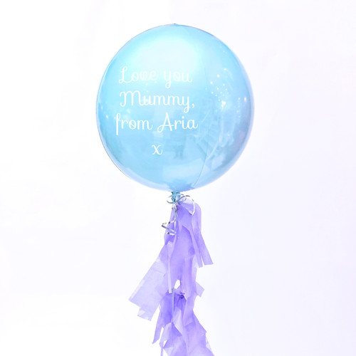 Personalised Mother's Day pastel blue orb balloon delivered in a box direct to the recipient