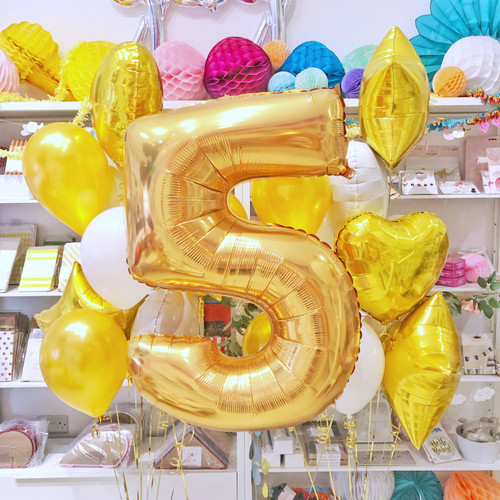 Gold and white milestone anniversary balloons delivered