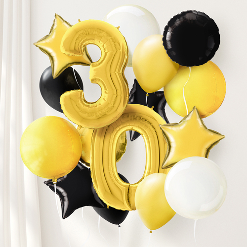 Gold and black deluxe number balloon collection for birthday parties and celebrations