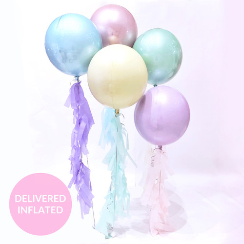 Pastel 1st birthday party balloons delivered to you or a loved one for a gift or surprise celebration