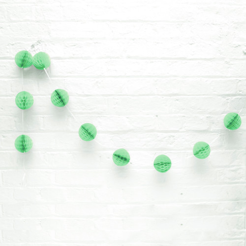 Mini Lime Green Honeycomb Ball Garland Decoration for Birthday Parties, Hen Dos, Baby Showers and Photo Booth Backdrops.