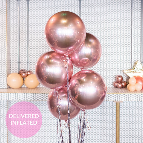 Rose gold birthday party balloons delivered inflated to you or a loved one for a gift or surprise celebration
