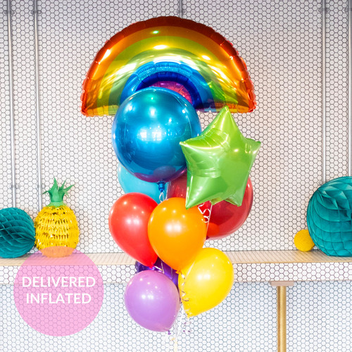 Rainbow birthday bunch of balloons inflated with helium and delivered direct to you for a gift or party decor