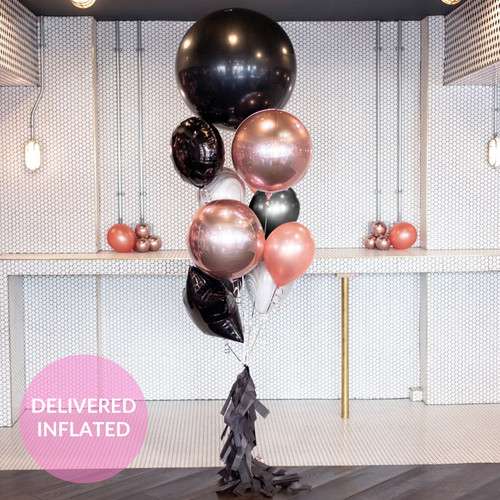 Glam rose gold and black birthday bunch of balloons inflated with helium and delivered direct to you for a gift or party decor