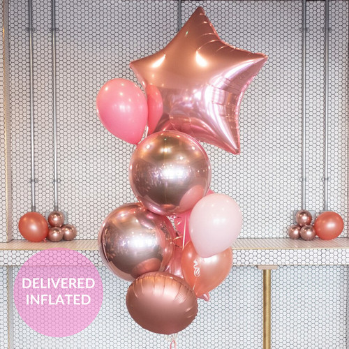 Glam rose gold and pink birthday bunch of balloons inflated with helium and delivered direct to you for a gift or party decor